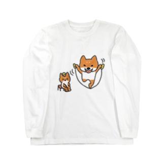 縄跳びをする犬と座っている犬 ロングスリーブTシャツ