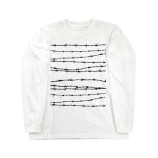 有刺鉄線ボーダー ロングスリーブTシャツ