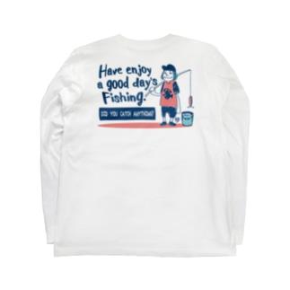 (釣りざんまい)一日釣りを楽しむアングラー Long sleeve T-shirts