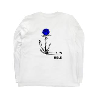 smoke flour blue バックプリント Long sleeve T-shirts