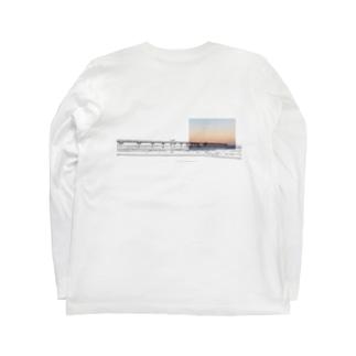 桟橋 バックプリント Long sleeve T-shirts