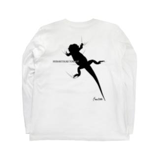 へばりつきトカゲーバックプリントー Long sleeve T-shirts