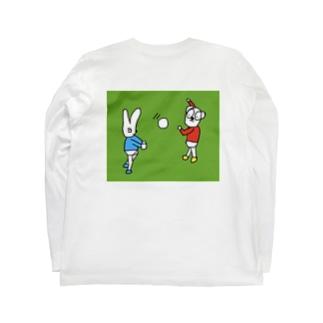 バレーをするウサギとパンダ  Long sleeve T-shirts