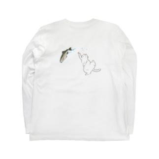 白猫とニジマス Long sleeve T-shirts