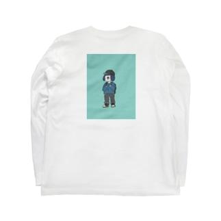 wanatabe バックプリントロングTシャツ(bluegreen) Long sleeve T-shirts