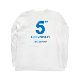 クラウドサインの[5th Anniv.]ロゴ_バックプリント付き_青文字 Long sleeve T-shirts