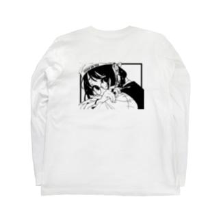 丸メガネちゃん・黒 Long sleeve T-shirts