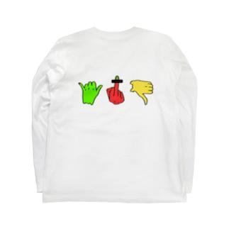 フィンガーサイン(両面) Long sleeve T-shirts