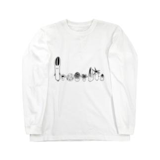 アカカゴタケ科のみなさん(きのこ) Long sleeve T-shirts