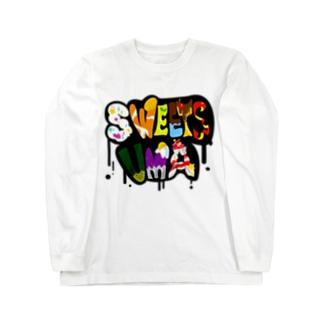 スイーツUMA_黒ロゴ Long sleeve T-shirts