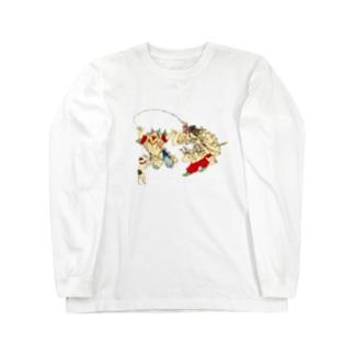 猫と遊ぶ神功皇后と恵比寿天 Long sleeve T-shirts