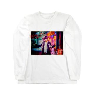 平日マスクグラフィック-ネオン- Long sleeve T-shirts