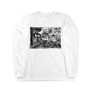 ウサギと微睡む少年 Long sleeve T-shirts
