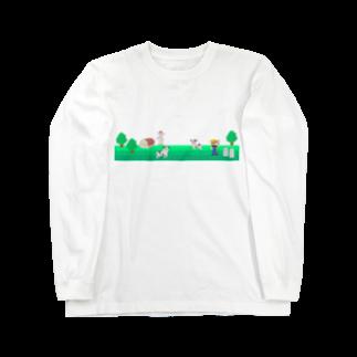 牛乳だいすき!の牧場の風景シリーズ Long sleeve T-shirts