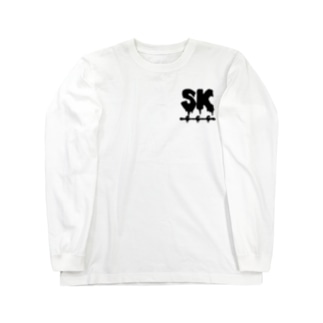 SK Strikethrough(666) Clothing - First Line White Long sleeve T-shirts