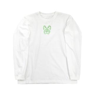 フレンチブルドッグ_GREEN Long sleeve T-shirts