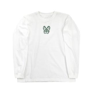 フレンチブルドッグ_khaki Long sleeve T-shirts