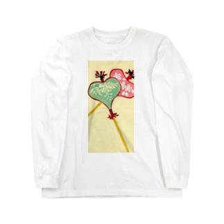 art-healing-awazuの唐招提寺 うちわまき 縁起ものデザイン Long sleeve T-shirts