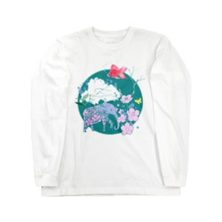 サクラの象と空飛ぶ金魚 Long sleeve T-shirts