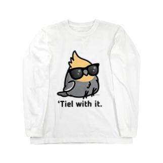 Chubby Bird サングラスをかけたオカメインコ (黒の文字が見えづらい為、黒の記事は選択しないようお願いします。) Long sleeve T-shirts