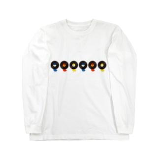 レコードリ数珠つなぎ(月夜-お日様-秋の滝) -Left Walk Long sleeve T-shirts