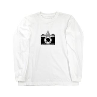 カメラとレスラー(モノクロ) Long sleeve T-shirts