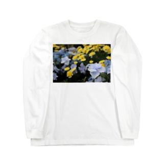 青ガクアジサイ × 黄??? Long sleeve T-shirts
