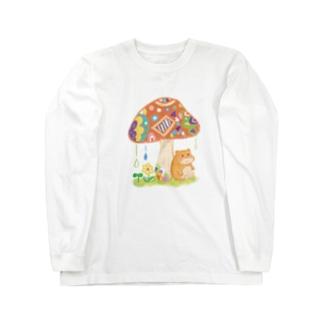 ハムちゃんの雨やどり Long sleeve T-shirts