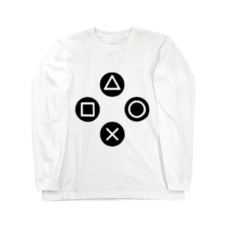 三角、四角、丸、バツ Long sleeve T-shirts