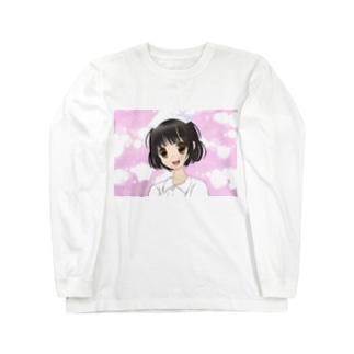 モエ萌えナースほわほわピンク背景 Long sleeve T-shirts
