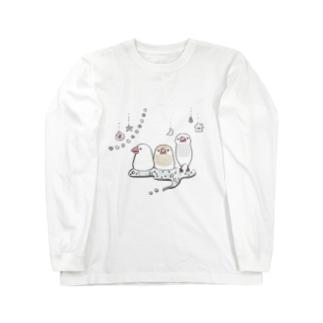 キラキラ文鳥 Long sleeve T-shirts