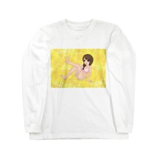 萌え三つ編みピンク水着キラキラ Long sleeve T-shirts