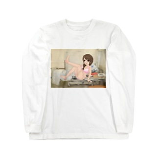 病院病棟病室萌え三つ編みピンク水着 Long sleeve T-shirts