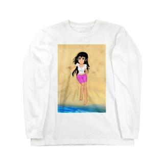 カラー黒髪女子浜辺 Long sleeve T-shirts