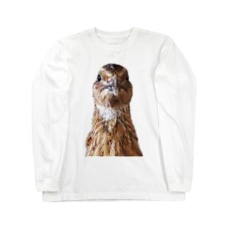 ガン見ウズラ Long sleeve T-shirts