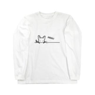 ひょこっとDEGU! くろ Long sleeve T-shirts