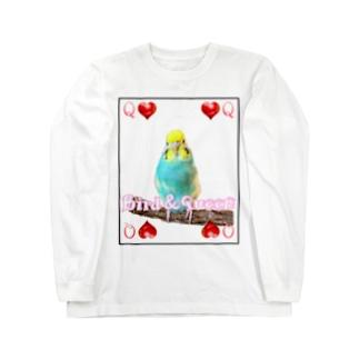 セキセイインコトランプ Long sleeve T-shirts