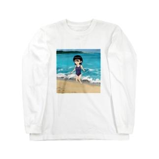 スクール水着浜辺 Long sleeve T-shirts