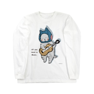ギターねこ Long sleeve T-shirts