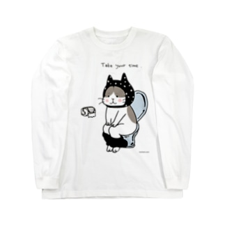 トイレねこ 黒 Long sleeve T-shirts