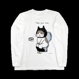 ほっかむねこ屋@5/16→31  吉祥寺駅のトイレねこ 黒 Long sleeve T-shirts