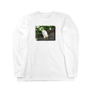 雨とのらねこと花 Long sleeve T-shirts