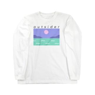 黒字アウトサイダー  Long sleeve T-shirts