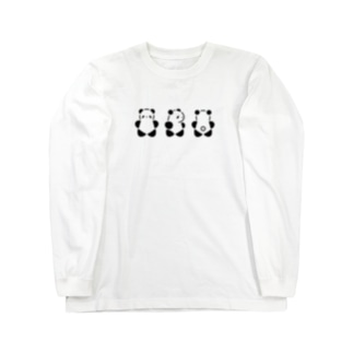 くるりんぱんだ(大)(Black) Long sleeve T-shirts