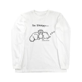 So Sleepy +piping 眠たいワンコ Long sleeve T-shirts