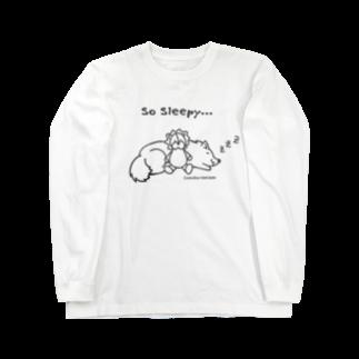 アトリエ・シシのSo Sleepy +piping 眠たいワンコ Long sleeve T-shirts