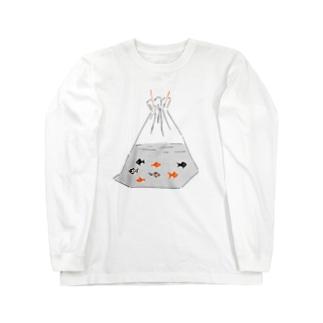祭りデザイン「金魚すくい」 Long sleeve T-shirts