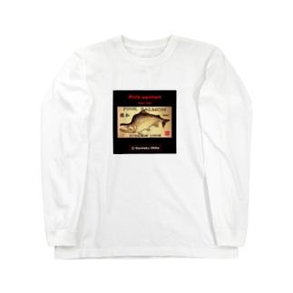 猿払 カラフトマス!生命たちへ感謝を捧げます。※価格は予告なく改定される場合がございます。 Long sleeve T-shirts