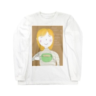 Good morning My morning begins with a cup of café au lait. Long sleeve T-shirts
