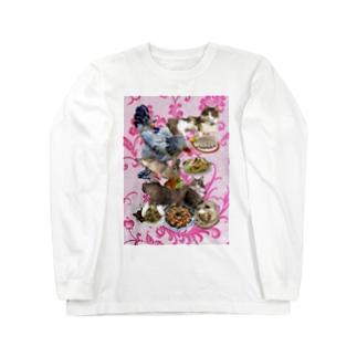食い散らかし 中華パーティ ピンク Long sleeve T-shirts